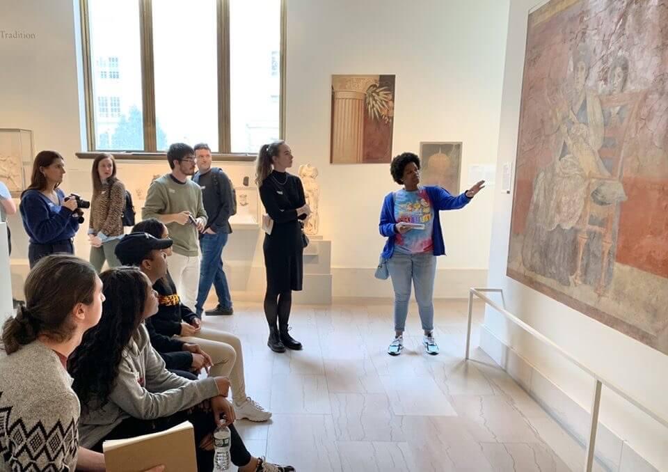 Students admiring artwork